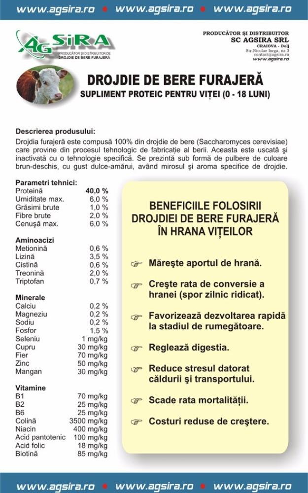 DROJDIE DE BERE FURAJERA SUPLIMENT PROTEIC PENTRU PENTRU VITEI (0-18 LUNI)